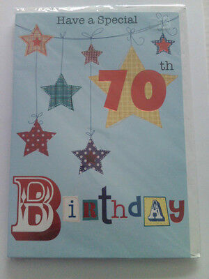 70 Today Happy 70Th Birthday Card Large Size Blue Red Stars Have A Special Day