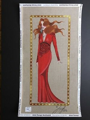 Leigh Designs Hand-painted Needlepoint Canvas Femme Fatale Tallulah in Red Gown