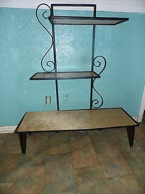 Mid Century Danish Mod Book Shelf Etegere Wrought Iron Scroll Metal Wood Black