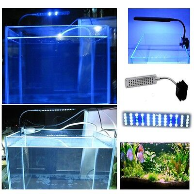 48 LED Clip Lamp Flexible Arm 2 Mode White&Blue Light Bulb Aquarium Fish Tank