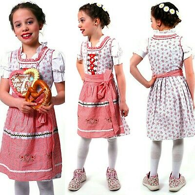 Authentic German Spring / Summer Dress (Dirndl) 3pc girls in 4T,6,8,10,11,12 NEW