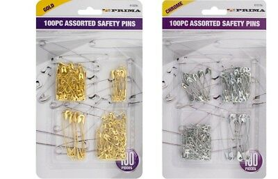 100Pcs Needles Safety Pins Silver Gold Assorted Small Medium Large Sewing Craft
