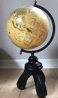 Spinning World Globe With Wood Stand Desktop Office Decor Decoration