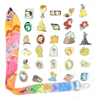 Princess Theme Starter Set w/ 5 Disney Park Trading Pins & Lanyard ~ Brand NEW