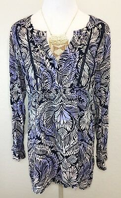 A Pea In The Pod Maternity Top Blouse Womens M Peasant Boho Smocked Popover EUC