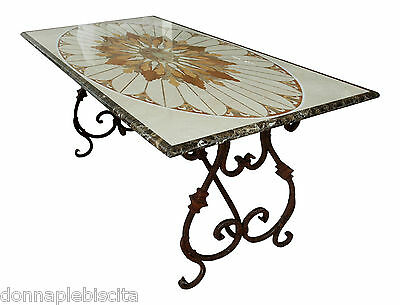 Table with Intarsi in Marble and stones Hard marble Inlay Vintage marble Table
