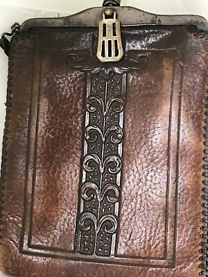 antique 1920's art deco nouveau TOOLED ON BOTH SIDES LEATHER PURSE turn lock