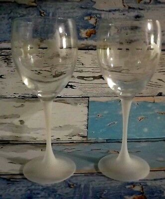 Vintage Avon Crystal Wine Goblets Frosted Base Etched Hummingbird Design Set/2