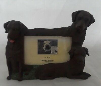 """Labrador Picture Photo Frame 4"""" x 6"""" Brown 3D E&S Import Dog Pet Self Standing"""