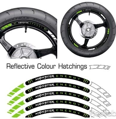 Monster Energy Green Reflective Motorcycle Wheel Tape Stickers Rim Decal Vinyl