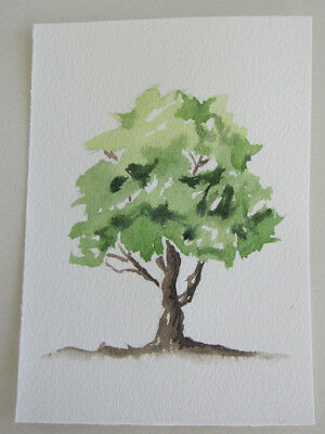 TREE old GNARLY green BROWN card PIECE hand PAINTED craft HOBBY branches FLORA