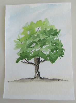 WATERCOLOUR card PIECE majestic TREE hand PAINTED greens ART hobby DIY craft