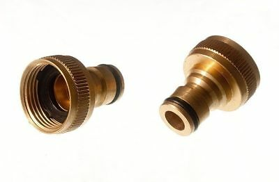 Pk Of 2 X Brass Tap Adaptor Hose Connector Tools Snap Fit Quick Fix 6G6