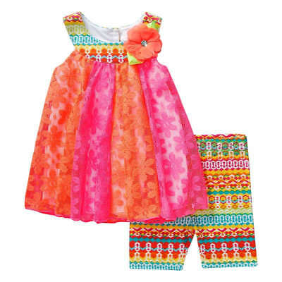 NWT Youngland Baby Girls Bright Pink & Orange Lacy Top, Shorts  (HH002-009)