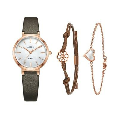 Ladies Quartz Mother Of Pearl Watch-MAMONA Rose Gold White and Leather Band Wome