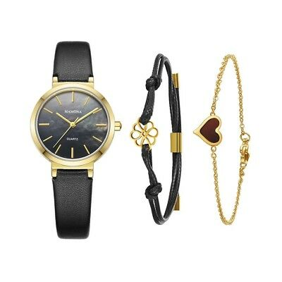 Ladies Quartz Mother Of Pearl Watch-MAMONA Gold Black and Leather Band Women bra