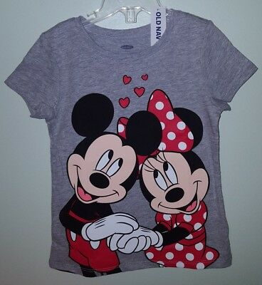 Old Navy Girls 12-18 MONTHS 4T 5T Minnie Mickey Mouse Tee T-Shirt GRAY #32118