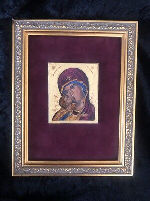 Vintage Russian Icon Madonna & Child Hand Painted Gilded Wood Frame Wall Art