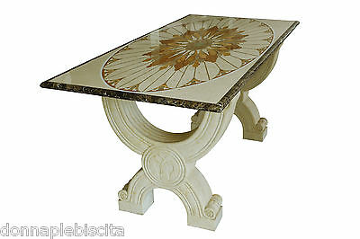 Table with Inlaid Marble Yellow Egypt and Imperador Classic Inlay Marble Table