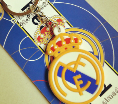 Real Madrid Soccer Keychain Ring Bag Chain Badge Emblem PVC Plastic Team Logo