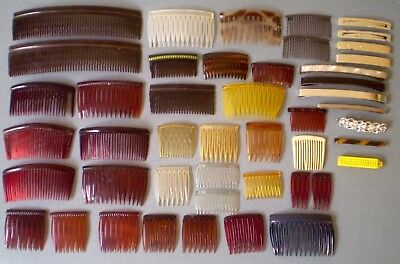 Vintage Lot of 46 Women's Hair Combs & Barrettes Clips From 1960s 1970s 1980s