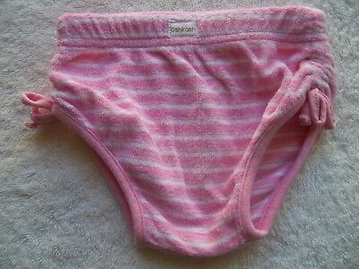 Baby Girl's OshKosh Pink & White Towelling Swimmers/Swim Pants Size 000 VGUC