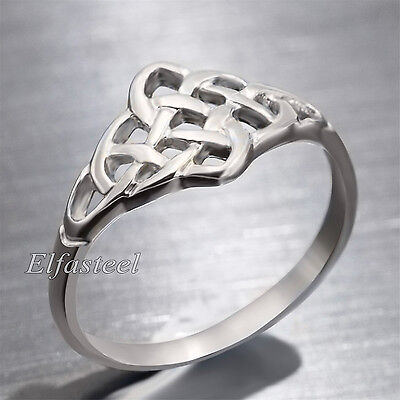 Women's Girl's Silver Trinity Triquetra Celtic Knot Stainless Steel Fashion Ring