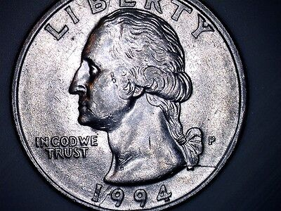 1994 P Washington Quarter US Mint with Large Obverse Die Crack Error Coin