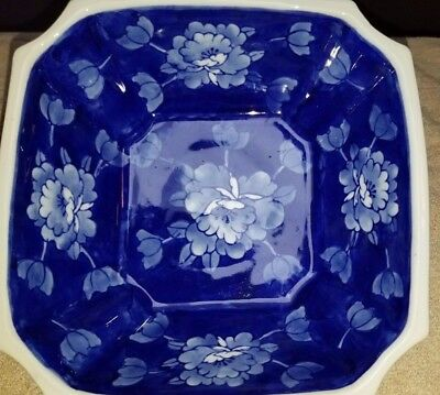 """BLUE & WHITE Asian Floral Square Porcelain Bowl Dish 8""""by 8"""" and 31/2"""" Tall"""