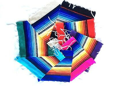 "Serape Coasters Mats Mexican Style Southwest Stripe Colorful Bright 6"" x 5"""