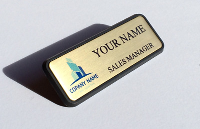 Customised Gold Metal NAME BADGE Text with Logo MAGNETIC ATTACHMENT