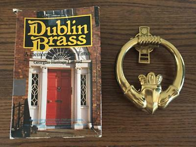 "Vintage Dublin Brass CLADDAGH DOOR KNOCKER Large 5"" Original Box Solid Brass"