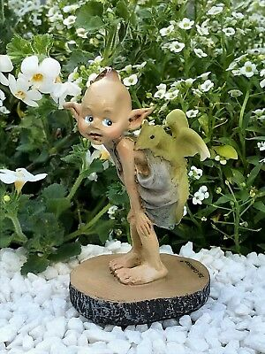 Miniature FAIRY GARDEN Figurine ~ Mini Pixie with Baby Dragon on Wood Stump NEW