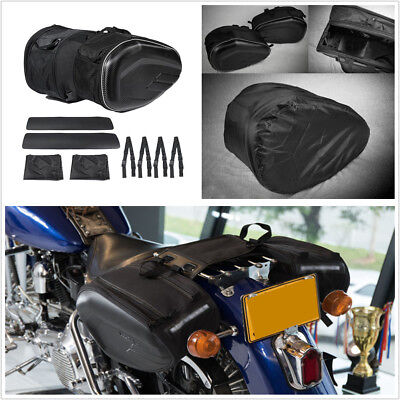 2Pcs Motorcycle ATV Saddle Bags Luggage Helmet Tank Bags 36-58L With Rain Cover