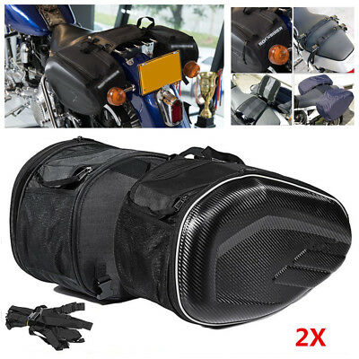 2X Carbon Fibre Look Motorcycle Saddle Bags Luggage Helmet Tank Bags &Rain Cover