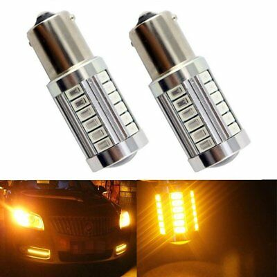 2Pcs Amber 1157 BAY15D LED Bulbs 33SMD Car Turn Tail Brake Signal Light Yellow