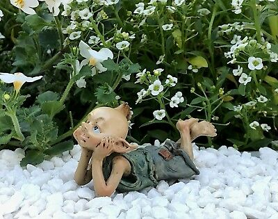 Miniature FAIRY GARDEN Figurine ~ Daydreaming Mini Pixie in Thought ~ NEW