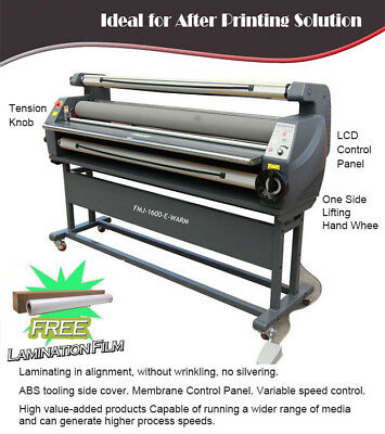 "USA 110V 63"" Entry Level Full Auto Wide Heat Assisted Cold Laminator Laminating"