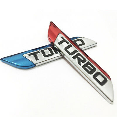 1Pc 3D Metal Turbo Logo Car Body Fender Emblem Badge Decal Sticker 11.2cm*2.3cm