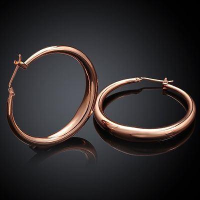 "Awesome New 18K Rose Gold Plated Smooth & Shiny 1.25"" Round Hoop Earrings"