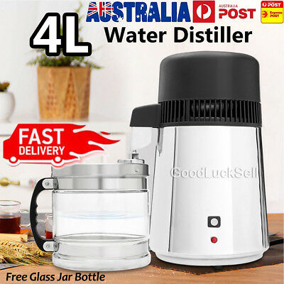 4L Pure Water Distiller 304 Stainless Steel with Glass Jar for Dental Medical AU
