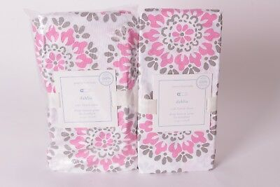 set/2 NWT Pottery Barn Kids Dahlia crib fitted sheet pink gray