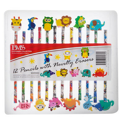 NEW BMS Stationery Collection Pencils w/Novelty Erasers 12pk