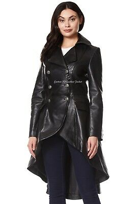 Ladies Leather Jacket Black 100% REAL NAPA Back Laced Victorian Gothic Coat 3492