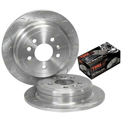2 Rear Slotted Drilled Brake Rotors + Pads Falcon Fairmont EF EL XR6 XR8 1994-98