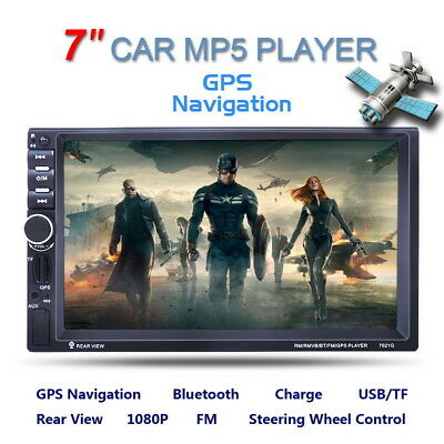 7'' HD 2 DIN Bluetooth Car Radio MP5 MP3 Player Touchscreen GPS Navigation w/Cam
