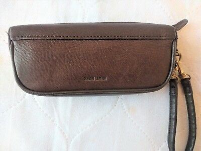 ROLF Brown Leather Eyeglass Zipper Case with Strap