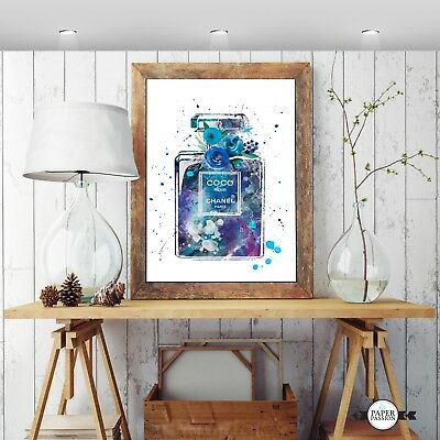 Perfume Bottle Wall Print,Watercolour Floral wall print, Various Sizes