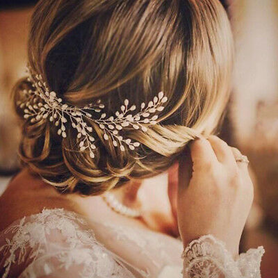 Chic Bride Flower Leaf Hair Comb Wedding Crystal Pearl Clip Slide Tiara Headwear