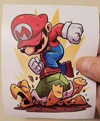Mario Turtle Smash sticker. 4 x 5. (Buy  3 stickers, GET ONE FREE!)
